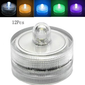 a-Plastic 12pcs  Lot Romantic Waterproof Submersible LED Tea Electronic Candle Light for Wedding Party Christmas Decoration