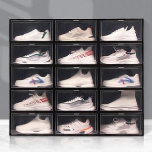 Faltbare Kunststoffschuhkasten dicker staubdichter Flip-stapelbarer Schuhkarton-transparente Schublade Sortieren Schuhe Kabinett-Schuh-Organizer VT1865