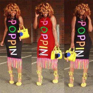 Mulheres Poppin Carta Vestido Verão Desenhador Tanque Bodycon Vestidos Arco-íris Poppin Imprimir uma saia-peça de peça sem mangas Praia vestido com t