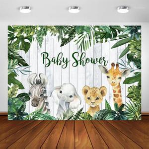 Hojas verdes safari selva animales baby shower cumpleaños salvaje una fiesta decoraciones fotografía fotografías personalizar fondo1