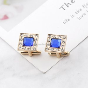 Blue Crystal cufflinks Men Square zircon Formal Business Shirt Cuff Links button fashion jewelry will and sandy drop ship