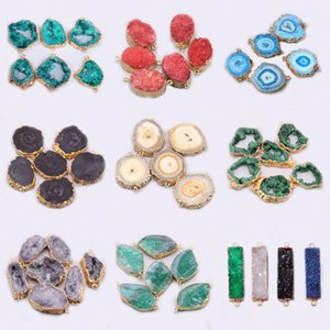 1pc Natural Irregular Healing Crystal Slice Connector Charm Pendant Pendulum for Necklace Bracelet Jewelry Making Accessories