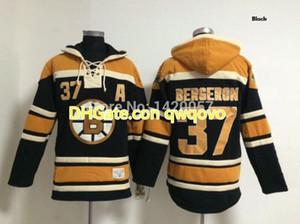 تخصيص بوسطنBruins الفانيلة Bruins # 37 Patriceبيرجيرون الجليدالهوكيالصوف الكشمير هوديي 3 لون الرجال الشباب