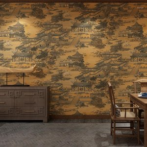 Chino Classical Qingming Riverside Wallpaper Wallpaper Chinese Wallpaper Study Teahouse PVC impresión impermeable W831