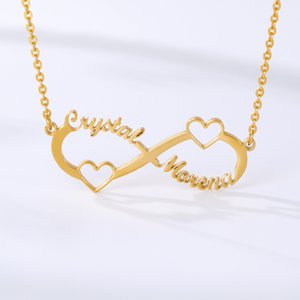 Hot Stainless Steel Custom Name Necklace Personalized Rose Gold Silver Infinity Pendant Friendship Necklace Jewelry Best Friend Gift