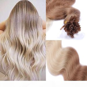 Human Hair Pre-bonded U-Tip Brazilian Virgin Hair 14-24Inch Ombre Color 6 613# Human Hair U-Tip Extensions
