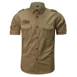 Fashion Men Millitary Airforce Pilot Short Sleeve Cotton Shirt Clothes Men Shirts Casual Slim Fit Chemise Homme Camisa D1