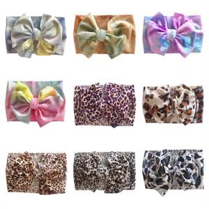 Baby Kids Headband Tie-Tintura Leopardo Big Bow Cabelo Envoltório Hairband Ins Meninas Bandas De Cabelo Elástica Headband Bebê Meninas Meninos Headwear E120410