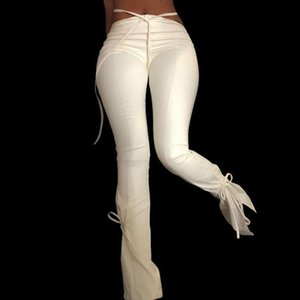 White PU Faux Leather High Waist Flare Leggings Women Pants Trousers Tight Christmas Sexy Bandage Fitness Bottom