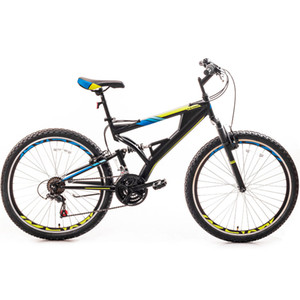 26 Inch Mountain Bike with Full Suspension 21-Speed Aluminum Alloy Frame Bicycle(Blue and Orange)