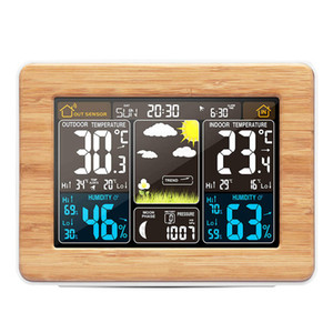 Wooden Alarm Clock Digital Temperature Humidity Wireless Barometer Forecast Weather Station Electronic Watch Desk Table Clocks Color Display
