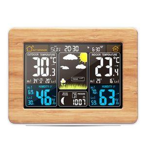 Alarme de madeira Temperatura Relógio Digital Umidade sem fio Barómetro Previsão Estação Meteorológica Relógio Eletrônico Desk relógios de mesa Color Display