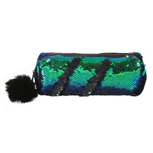 Shining Sequin Large Pencil Case Stationery Storage Pen Organizer Bag School Office Supply Cosmetic Holder For Gift Green + Blac