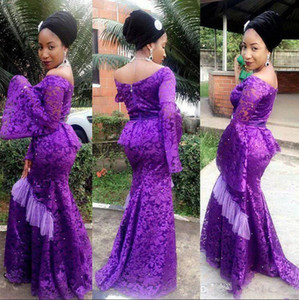 2021 African Nigerian Evening Dresses Purple Aso Ebi Lace Styles Off Shoulder Peplum Puffy Long Sleeves Mermaid Prom Dresses Formal Gowns