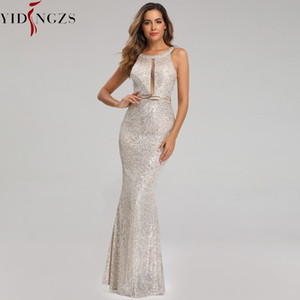 YIDINGZS See-through Sexy Long Formal Party Dress Off-shoulder Silver Sequins Evening Dress YD16363 201119