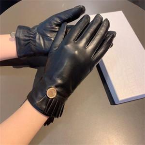Marca Luvas de pele de carneiro desenhista luvas de couro senhoras manter luvas quentes touch screen mittens ciclismo outdoor lisa luva presentes de natal