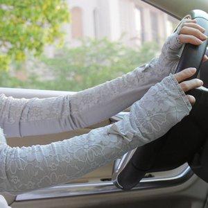 Verão dirigindo longos braços ms manga especial fina renda com luvas 99% Proteção UV elétrica