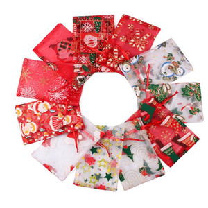 Christmas Candy Organza Bag Drawstring Pouches Gauze Yarn Candy Gift Bag Jewelry Packaging Bags Xmas Decoration Jewelry Packing Bags YHM136