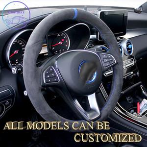 Alcantara Süet Deri Araba Direksiyon Kapağı Mercedes Benz AMG Için Tüm Serisi Elbise Tutucu Özelleştirme Sportscar Lüks Doku