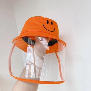 Maske ile Çocuklar Toz Geçirmez Anti Drool Sıçrayan Fisherman Şapka Turuncu Havzası Kapak Çocuk Güvenliği Koruyucu HHA1175