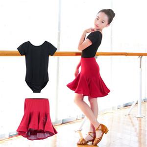 Girls Latin Stage Competitions Practice Dance Dress Kid Leotard Skirt Ballroom Tango Salsa Tassel Performance Dancewear Set 2PCS