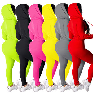 Women Fashion Winter Tracksuits Long Sleeve Hoodies T Shirts Tops + Pants Two Piece Set Autumn Outfits Sportswear Nightclub Clothes S-2XL