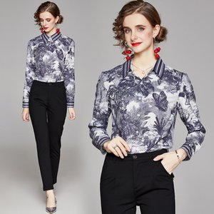 Printed Shirt High-end Women Blouse 2021 Spring Autumn Shirt OL Fashion Elegant Lady Shirt