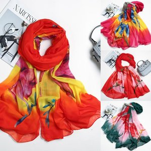 Bufanda Mujeres Bandana Moda Mujeres Damas de mujer Impresión de gasa larga Long Soft Wrap Scarf Ladies Mantón Chal Chifón Hijab Foulard Femme