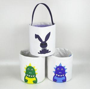 Paskalya Yumurta Sepet Çocuk Karikatür Baskı Yumurta Sepeti Paskalya Bunny Çantası Mutlu Paskalya Şeker Çanta Depolama Sepeti Tote Çocuklar Çanta Çanta G10504