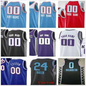 Özel Baskılı Sacramento Deaaron 5 Fox Buddy 24 Helkel Tyrese 0 Haliburton Marvin 35 Bagley III Erkekler Kadın Çocuk Kings Basketbol Formaları