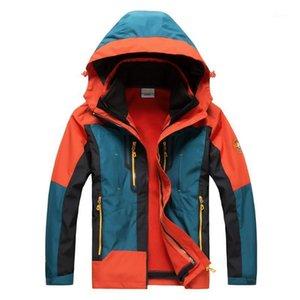 Зимние мужчины Parka водонепроницаемый открытый флисовой накладки накладки и куртки теплоизоляционная ветрозаветка с капюшоном 3in1 верхняя одежда1