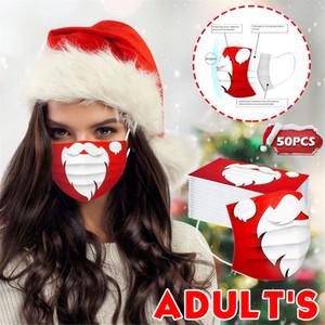 Red Bigache Imprimir Diseñador de moda Santa Claus Mascarilla de cara desechable Prevención a prueba de polvo Prevención de la cara de la Navidad de la influenza Hombres adultos de los hombres