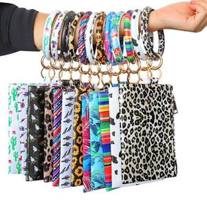 NEW PU Keychain Bracelet Wallet Woman Handbag Leather Tassel Pendant Handbag Leopard Sunflower Print Bracelet Ladies Bag Gift 14 colors