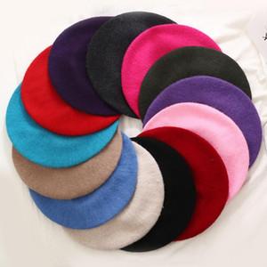 레이디 봄 겨울 베레츠 모자 화가 스타일 모자 여성 양모 빈티지 베레 콩 솔리드 컬러 모자 여성 보닛 따뜻한 걷는 모자