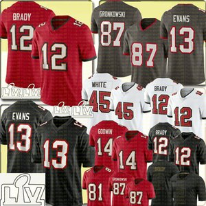 Brady 12 Tom Brady Jersey 13 Mike Evans 87 Rob Gronkowski 14 Chris Godwin Jersey Devin Branco Leonard Fournette Jones II Jerseys de futebol
