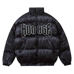 Hombres Down Jakcet Puffer Chaqueta Zipper Hip Hop Letra Bordado Parka Chaquetas Streetwear Abrigos Invierno Negro