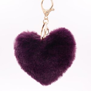 hawaii personalied colored Fashion love heart-shaped plush keychain lovers imitation rex rabbit fur ball bag pendant car ornament wholesale