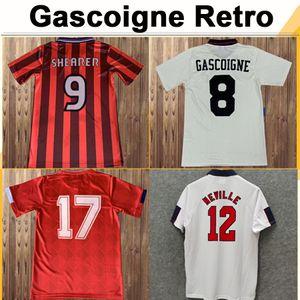 1998 Keegan Mens maillots de football rétro Beckham Scholes Shearer Sheingham Gascoigne Home Away 3ème chemise de football Uniformes à manches courtes