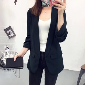 long solid suit blazers for women 2020 autumn slim cardigan jackets three quarter sleeve notched office ladies blaser feminino1