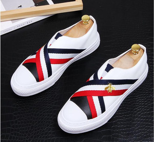 2021 High Quality Fashion Men High Top British Style Rrivet Causal Luxury Shoes Men Red Gold Blackom Shoes loafers. 38-43