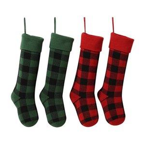 Knit Christmas Stockings Buffalo Check Christmas Stocking Plaid Xmas Socks Candy Gift Bag Indoor Christmas Decorations HWE3143