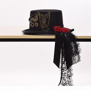Vintage Unisex Steampunk Gear Red Floral Black Top Hat Man Woman Party Fedora Gift Fast Shipment