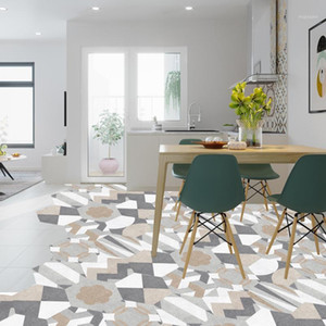 Self-adhesive Waterproof Art Mural Decal 10pcs Hexagon Floor Tiles Wall Stickers DIY Kitchen Bathroom Home Floor Tiles Sticker1