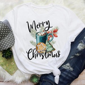 Women New Year Cartoon Bake Cookies 90s Holiday Merry Christmas Graphic Tees Clothes Print Tops Lady Female T Shirt T Shirt
