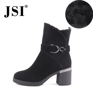 JSI New Moda feminina Inverno Botas Buckle Decoração Rodada cabeça quadrada das senhoras sapatos de salto JC530
