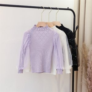 Sweet Girls Knitting Sweater Kids Sequins Gauze Puff Sleeve Pullover Children Wave Collar Knitting Princess Tops A5118