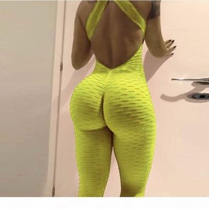 Yoga Suits Women Sportswear Workout Clothes For Women Slim Fitness Yoga Set Stretchy Leggings Running Sets Bandage Gym Bodysuit Q190521