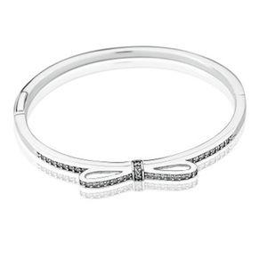 925 Sterling Silver Sparkling Bow Bangle Braccialetto Braccialetto originale per Pandora CZ Diamond Donne Weddnig Regalo Gioielli Bracciali 3 K2