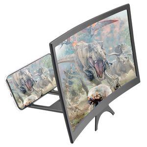 12 بوصة منحنية شاشة الهاتف مكبر للصوت hd 3d الفيديو الهاتف المحمول مكبرة الزجاج حامل قوس قابلة للطي حامل الهاتف العارض VTKT2055