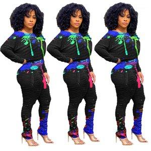 Rahat Yığılmış Tasarımcı Iki Parçalı Setleri Ekip Boyun Bayan Giysileri Splash Mürekkep Baskılı Bayan İki Parçalı Pantolon